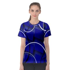 Blue Abstract Pattern Rings Abstract Women s Sport Mesh Tee