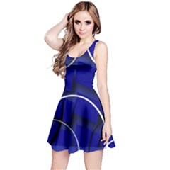 Blue Abstract Pattern Rings Abstract Reversible Sleeveless Dress