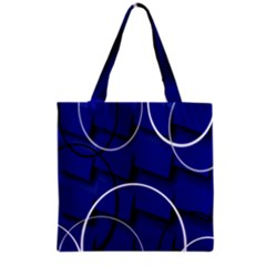 Blue Abstract Pattern Rings Abstract Grocery Tote Bag