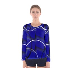 Blue Abstract Pattern Rings Abstract Women s Long Sleeve Tee