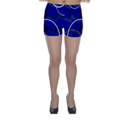 Blue Abstract Pattern Rings Abstract Skinny Shorts