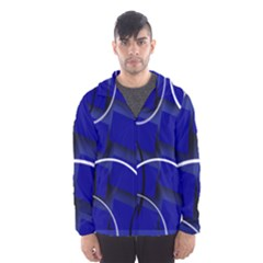 Blue Abstract Pattern Rings Abstract Hooded Wind Breaker (Men)