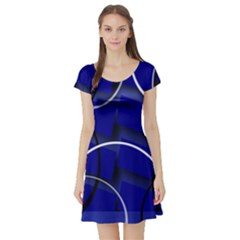 Blue Abstract Pattern Rings Abstract Short Sleeve Skater Dress