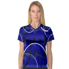 Blue Abstract Pattern Rings Abstract Women s V-Neck Sport Mesh Tee