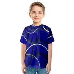 Blue Abstract Pattern Rings Abstract Kids  Sport Mesh Tee