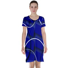 Blue Abstract Pattern Rings Abstract Short Sleeve Nightdress