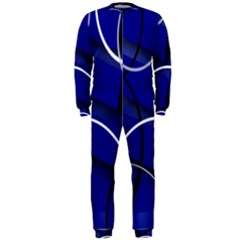 Blue Abstract Pattern Rings Abstract OnePiece Jumpsuit (Men)