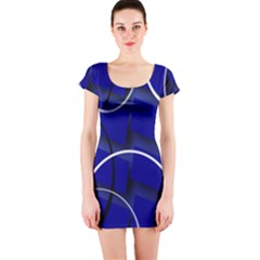 Blue Abstract Pattern Rings Abstract Short Sleeve Bodycon Dress