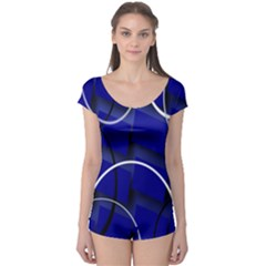 Blue Abstract Pattern Rings Abstract Boyleg Leotard