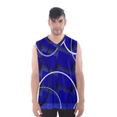 Blue Abstract Pattern Rings Abstract Men s Basketball Tank Top