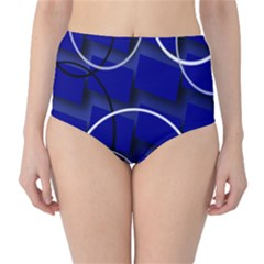Blue Abstract Pattern Rings Abstract High-Waist Bikini Bottoms