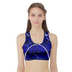 Blue Abstract Pattern Rings Abstract Sports Bra With Border