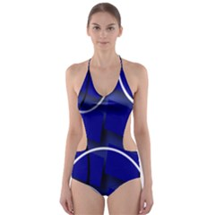 Blue Abstract Pattern Rings Abstract Cut-Out One Piece Swimsuit