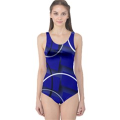 Blue Abstract Pattern Rings Abstract One Piece Swimsuit