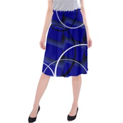 Blue Abstract Pattern Rings Abstract Midi Beach Skirt