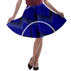Blue Abstract Pattern Rings Abstract A-line Skater Skirt