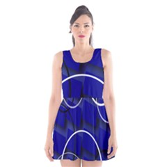 Blue Abstract Pattern Rings Abstract Scoop Neck Skater Dress