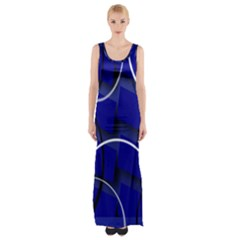 Blue Abstract Pattern Rings Abstract Maxi Thigh Split Dress