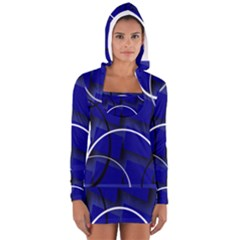 Blue Abstract Pattern Rings Abstract Women s Long Sleeve Hooded T-shirt