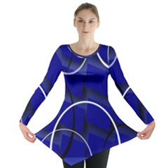 Blue Abstract Pattern Rings Abstract Long Sleeve Tunic
