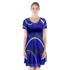 Blue Abstract Pattern Rings Abstract Short Sleeve V Neck Flare Dress