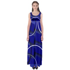 Blue Abstract Pattern Rings Abstract Empire Waist Maxi Dress