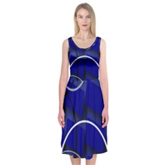 Blue Abstract Pattern Rings Abstract Midi Sleeveless Dress