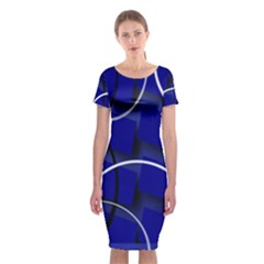Blue Abstract Pattern Rings Abstract Classic Short Sleeve Midi Dress