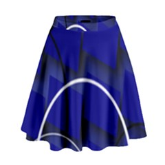 Blue Abstract Pattern Rings Abstract High Waist Skirt