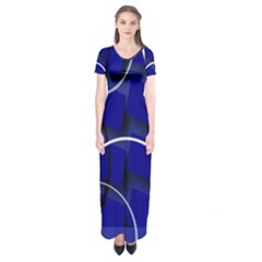 Blue Abstract Pattern Rings Abstract Short Sleeve Maxi Dress