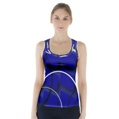 Blue Abstract Pattern Rings Abstract Racer Back Sports Top