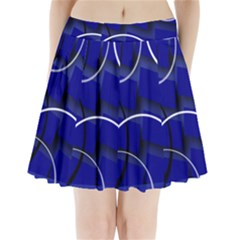 Blue Abstract Pattern Rings Abstract Pleated Mini Skirt