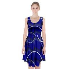 Blue Abstract Pattern Rings Abstract Racerback Midi Dress
