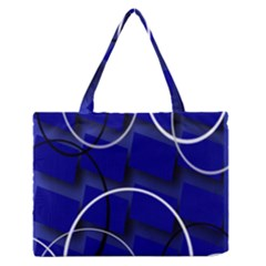 Blue Abstract Pattern Rings Abstract Medium Zipper Tote Bag