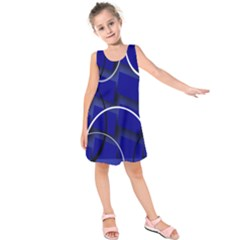 Blue Abstract Pattern Rings Abstract Kids  Sleeveless Dress