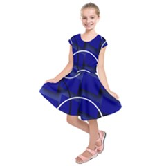 Blue Abstract Pattern Rings Abstract Kids  Short Sleeve Dress
