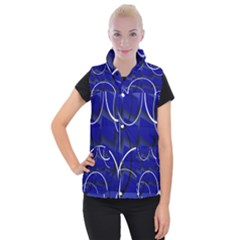 Blue Abstract Pattern Rings Abstract Women s Button Up Puffer Vest