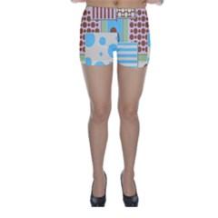Part Background Image Skinny Shorts
