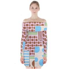 Part Background Image Long Sleeve Off Shoulder Dress