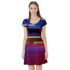 Abstract Background Pictures Short Sleeve Skater Dress