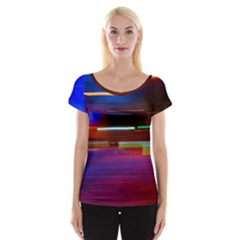Abstract Background Pictures Women s Cap Sleeve Top