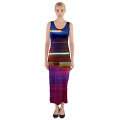 Abstract Background Pictures Fitted Maxi Dress