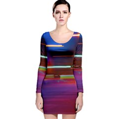 Abstract Background Pictures Long Sleeve Velvet Bodycon Dress