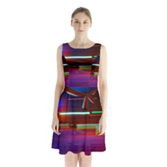 Abstract Background Pictures Sleeveless Chiffon Waist Tie Dress