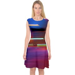 Abstract Background Pictures Capsleeve Midi Dress