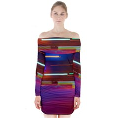 Abstract Background Pictures Long Sleeve Off Shoulder Dress