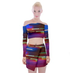 Abstract Background Pictures Off Shoulder Top With Skirt Set