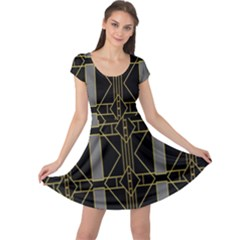 Simple Art Deco Style Art Pattern Cap Sleeve Dresses