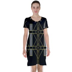 Simple Art Deco Style Art Pattern Short Sleeve Nightdress