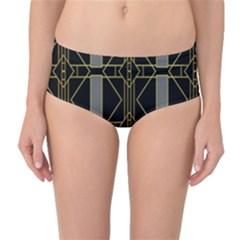 Simple Art Deco Style Art Pattern Mid Waist Bikini Bottoms
